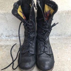 Charlotte Rousse Canvas Combat Boots